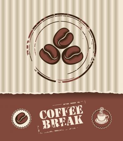 chicchi caff� su sfondo bianco: Banner della scatola di cartone ondulato, e chicchi di caff� Vettoriali