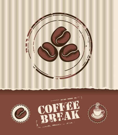 Banner of the corrugated cardboard box, and coffee beans  Vector