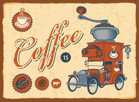 vintage car with coffee grinder on roof  Vector