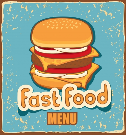 retro banner with cheeseburger on blue background  Vector
