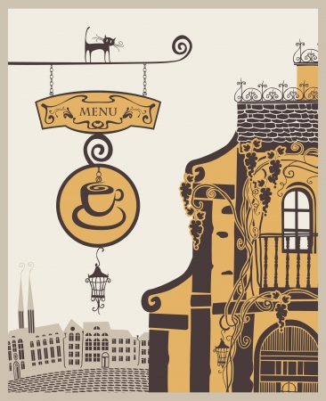 banner for menu to old cafe in city Stock Vector - 13872310