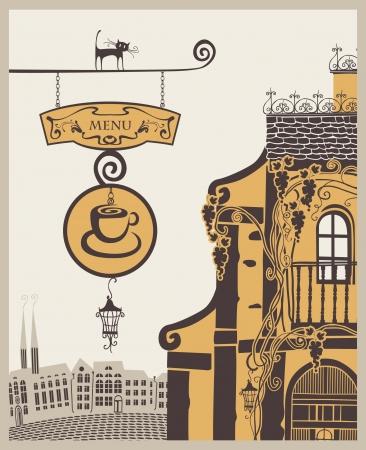 retail chain: banner per il menu vecchio caff� in citt�