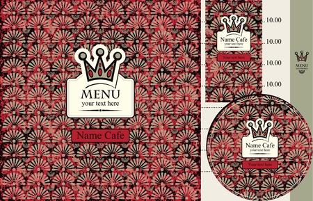 menu for cafe or restaurant with crown on velvet background Vector
