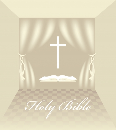interior with Christian symbols Vector