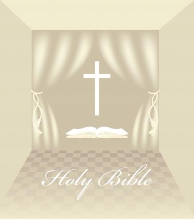 interior with Christian symbols Vector