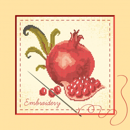 banner embroidered with pomegranates, needle and thread  Vector