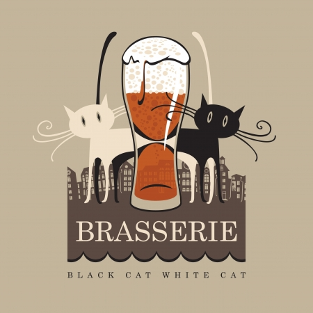 black cat and white cat on the background of the city with a glass of beer Vector