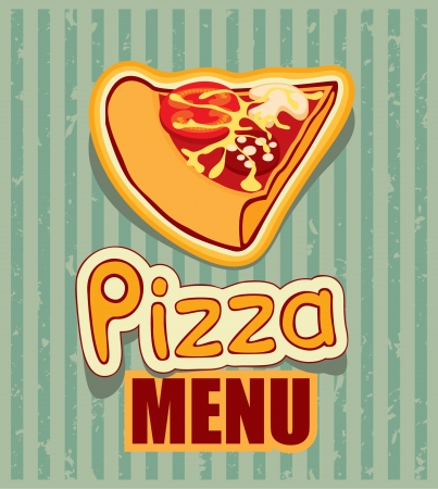 pizzeria label: Men� retro con porci�n de pizza Vectores