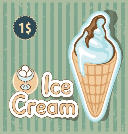 waffles: banner with the ice cream in retro style Illustration