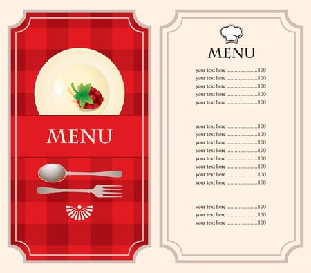 menu with raspberries on plate on a red background Vector