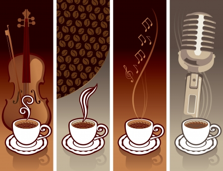 cacao: four banner with a cup of coffee and musical equipment