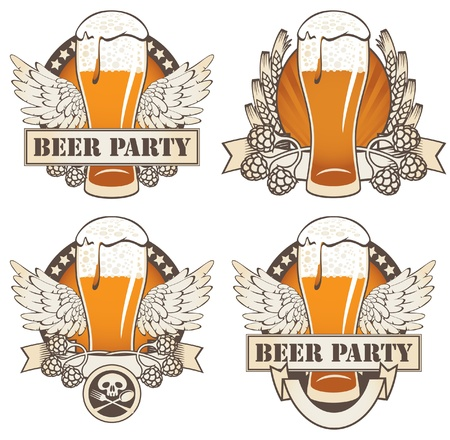 beer mugs: set of four banners with beer and wings