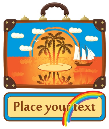 Travel suitcase with sea views from the island and palm tree Stock Vector - 14123033