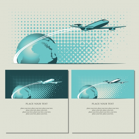 orbiting: banner with passenger plane and planet Earth