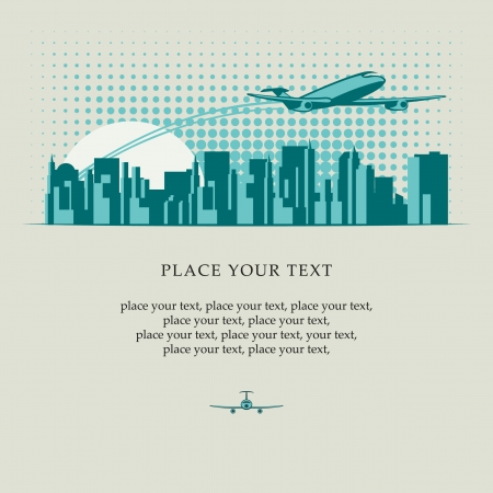 airplane mode: banner with passenger plane flying over major city