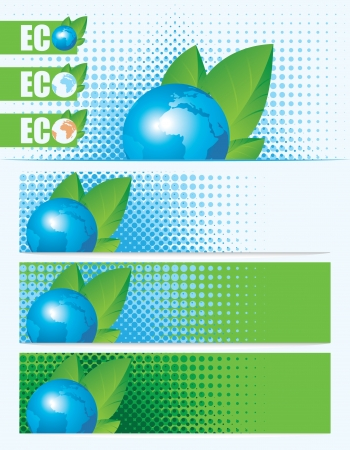 environmental issues: Banners on environmental issues with the planet Earth