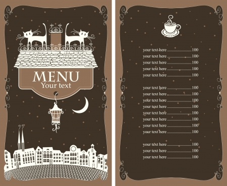 menu with two cats on the roof of the old town Vector