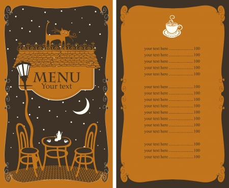 menu for cafe on night table under lamp Illustration