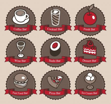 pane e vino: insieme di simboli con diverse specialit� Vettoriali