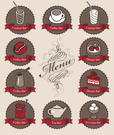 character set for a cafe with drinks and dessert  Vector