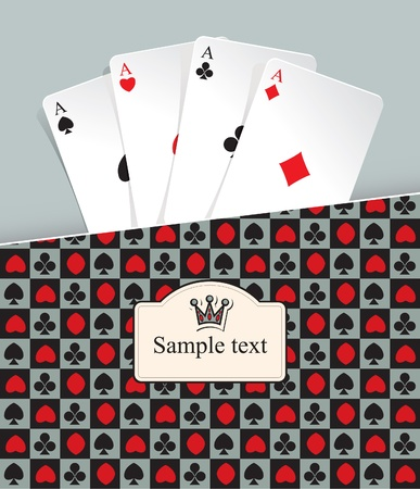 aces: banner with playing cards and crown Illustration