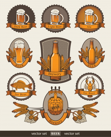 set of banners on beer Vector