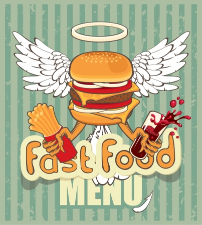 american food: banner for the fast-food cheeseburger with the wings