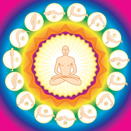meditation man: yogi in the lotus posture and exercises from several positions