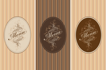 three banners for the menu on the striped background Vector