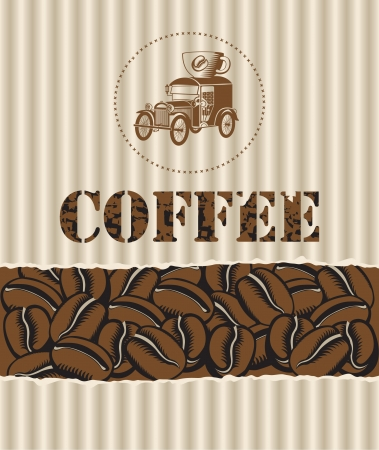 box of coffee grains with a retro car Vector