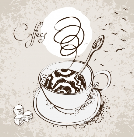 Figure cup of coffee with steam and birds Vector