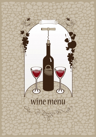 banner with bottle of wine and glasses on stone background Vector