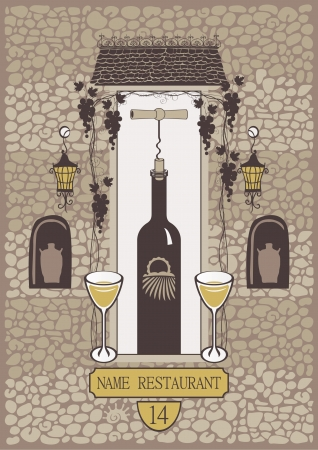 an old brick wall with a niche for a bottle of wine, lanterns and vines Vector