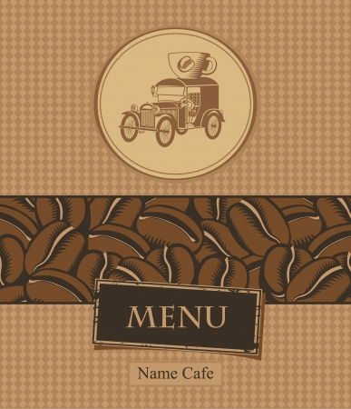 banner with coffee beans and retro car Vector