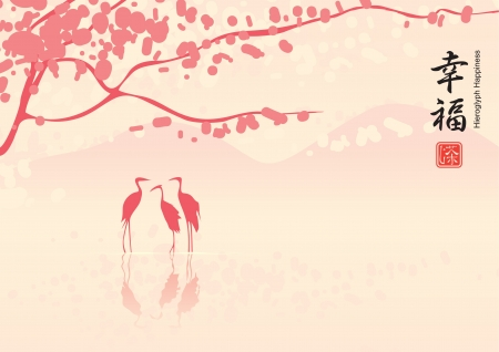 calligraphy pen: Este paisaje con flores de cerezo y los tres garzas en el lago