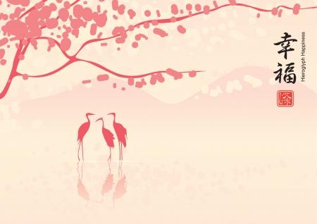 airone: Paesaggio orientale con fiori di ciliegio e le tre aironi nel lago