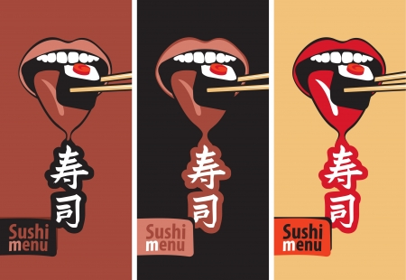 set of banners with the mouth eat sushi Vector