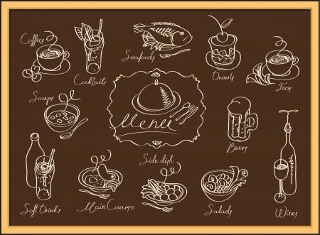 dessin craie: ensemble d'images de diff�rents plats sur le tableau noir