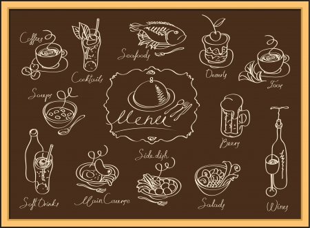 set of images of different dishes on the blackboard Vector