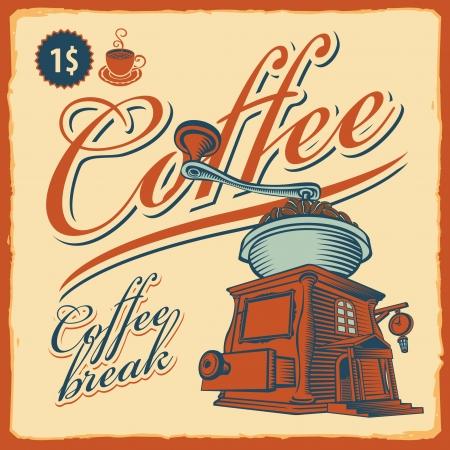 molinillo: retro banner con el molinillo de caf� - caf�