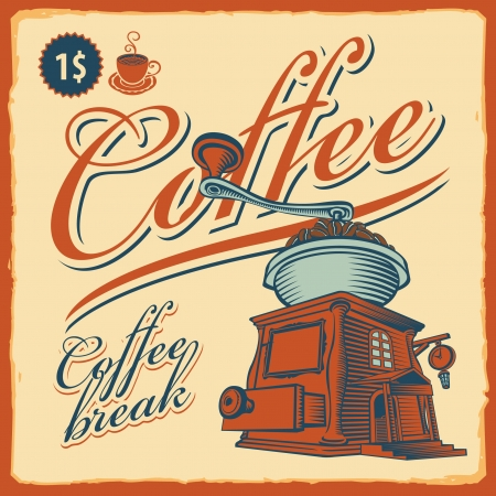 grinder: retro banner with the coffee grinder - cafe Illustration