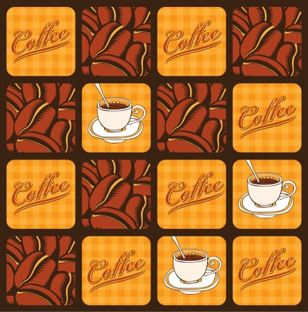 espresso cup: banner with coffee beans and cups