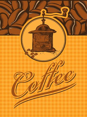 coffee grinder: banner with a picture grinder and beans