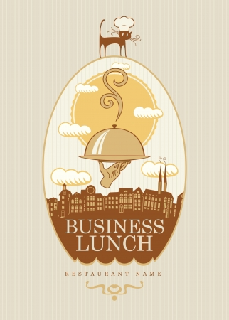 banner with a business lunch on the background of the urban landscape Vector