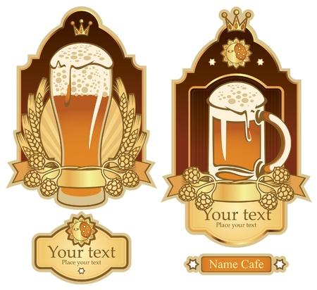 cerveza negra: conjunto de etiquetas para vasos de cerveza Vectores