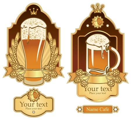 set of labels for beer glasses Vector