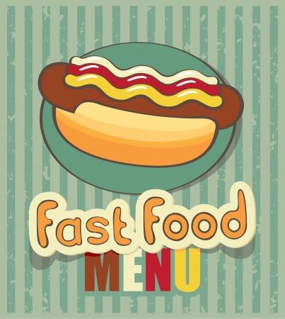 perro caliente: bandera de la comida r�pida con un perro caliente Vectores
