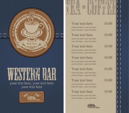 western food: menu with a cup on the background of denim Illustration