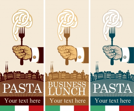 three banners with pasta on fork in hand Vector