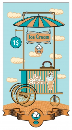 Mobile ice cream shop for sale Vector